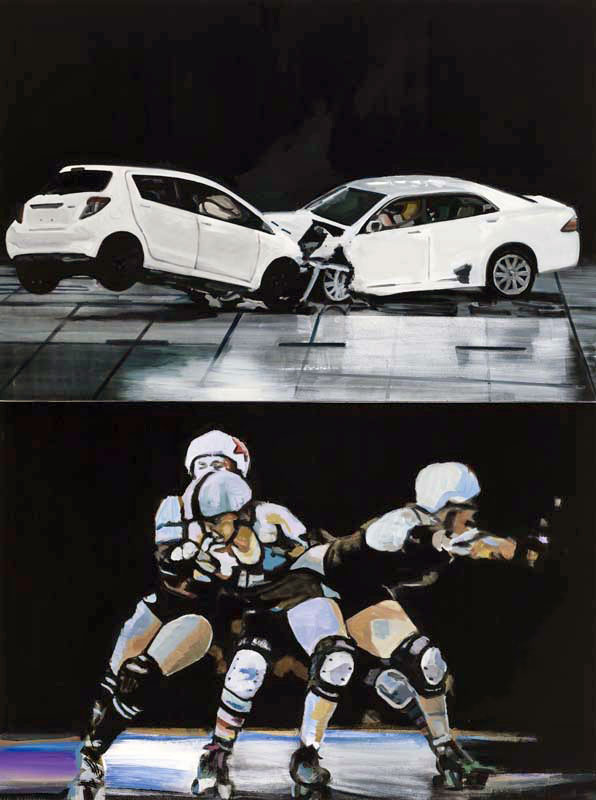 Christine Major, Crash Theory II, 2013, acrylique sur toile, 284,5 x 213,4 cm Photo : Guy L'Heureux
